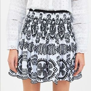 Skirt withcontrasting embroidery and perforation